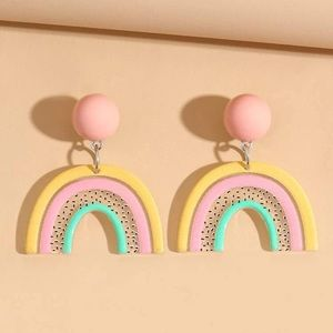 Pastel Rainbow Design Drop Earrings
